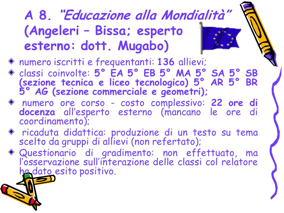 A 8. Educazione alla Mondialità (Angeleri – Bissa; esperto esterno: dott. Mugabo)