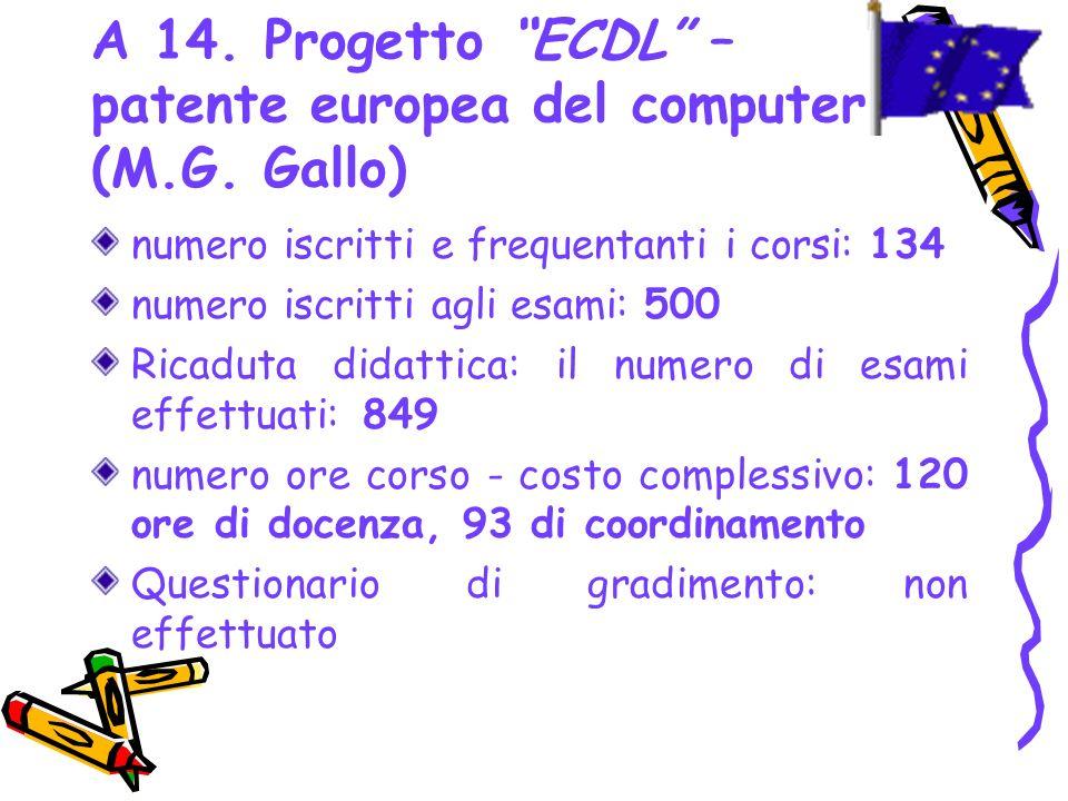 A 14. Progetto ECDL – patente europea del computer (M.G. Gallo)