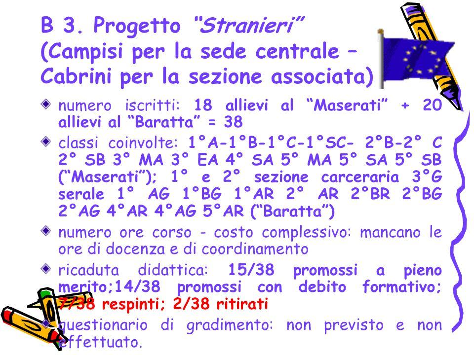 B 3. Progetto Stranieri (Campisi per la sede centrale – Cabrini per la sezione associata)