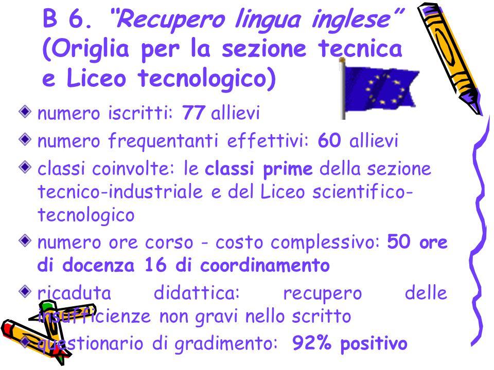B 6. Recupero lingua inglese (Origlia per la sezione tecnica e Liceo tecnologico)