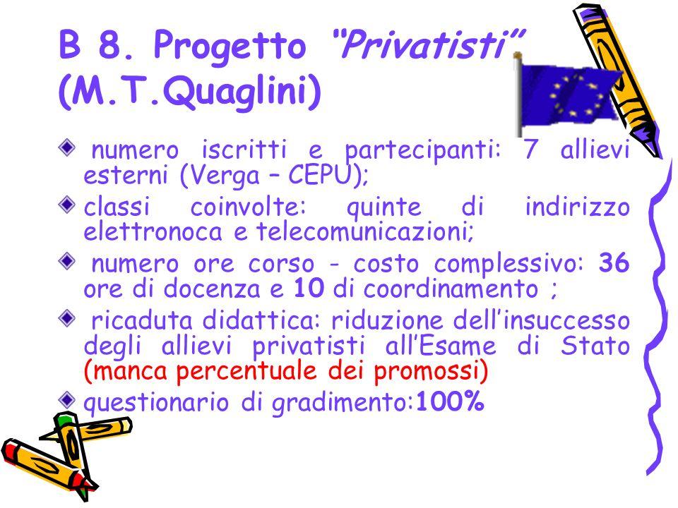 B 8. Progetto Privatisti (M.T.Quaglini)