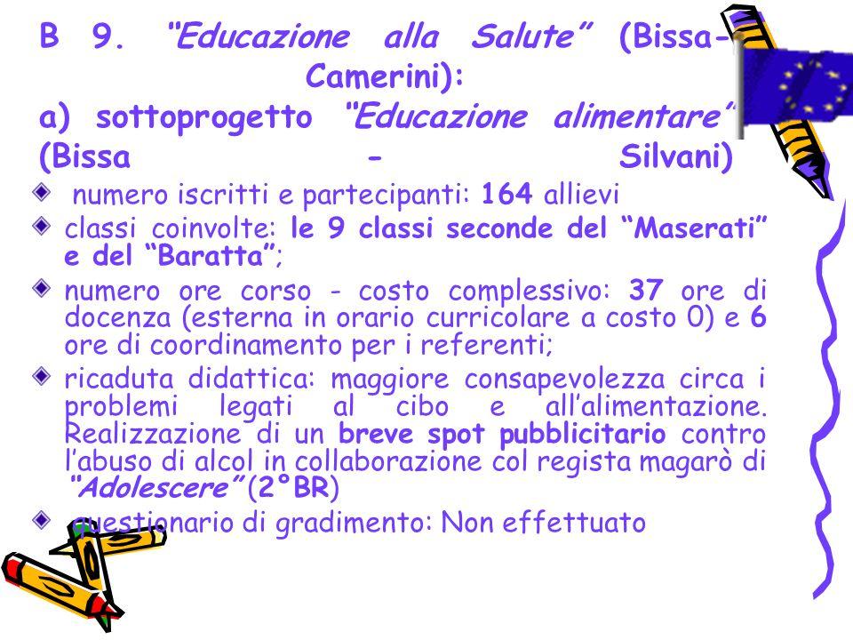 B 9. Educazione alla Salute (Bissa-Camerini): a) sottoprogetto Educazione alimentare (Bissa - Silvani)