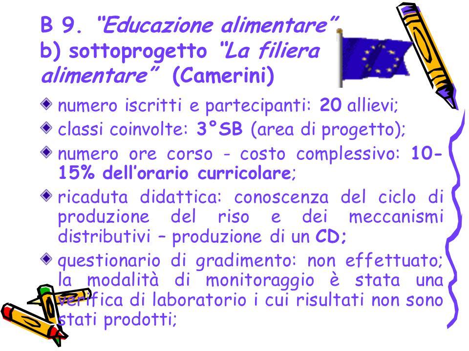 B 9. Educazione alimentare b) sottoprogetto La filiera alimentare (Camerini)