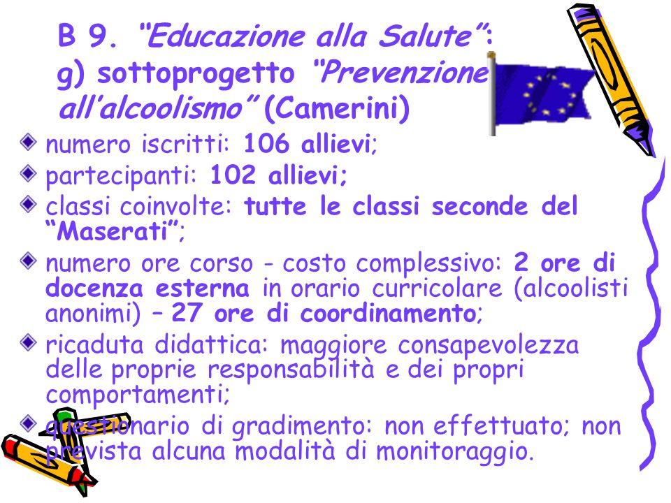 B 9. Educazione alla Salute : g) sottoprogetto Prevenzione all'alcoolismo (Camerini)