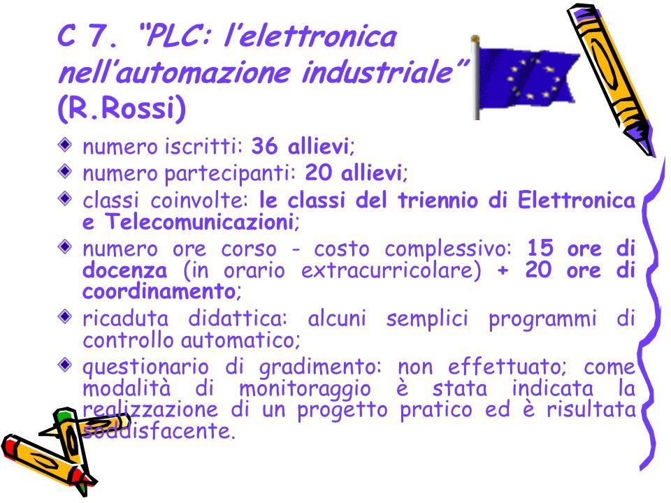 C 7. PLC: l'elettronica nell'automazione industriale (R.Rossi)