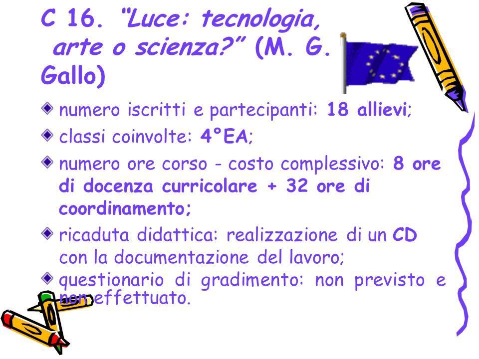 C 16. Luce: tecnologia, arte o scienza (M. G. Gallo)