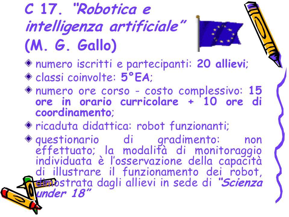 C 17. Robotica e intelligenza artificiale (M. G. Gallo)
