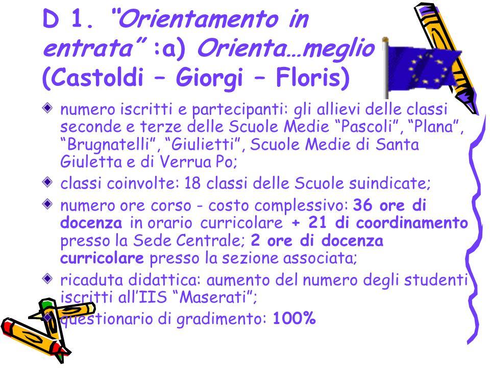 D 1. Orientamento in entrata :a) Orienta…meglio (Castoldi – Giorgi – Floris)