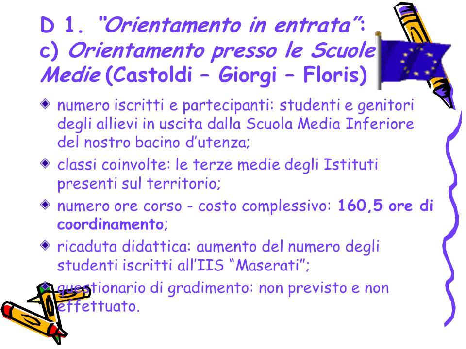 D 1. Orientamento in entrata : c) Orientamento presso le Scuole Medie (Castoldi – Giorgi – Floris)