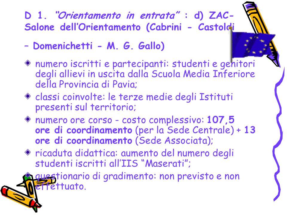 D 1. Orientamento in entrata : d) ZAC- Salone dell'Orientamento (Cabrini - Castoldi – Domenichetti - M. G. Gallo)