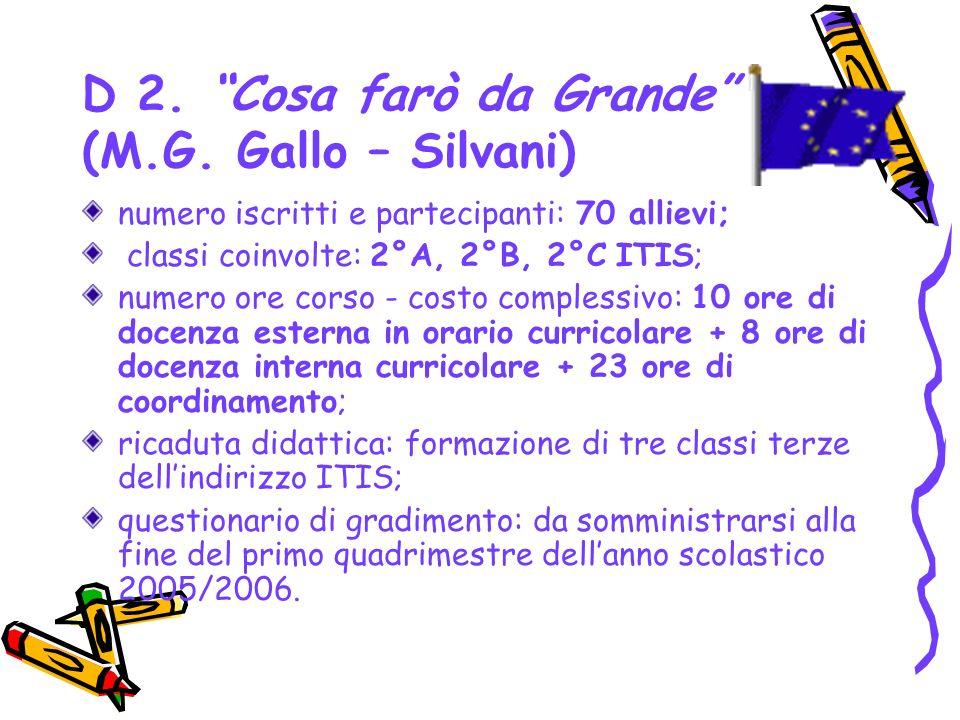 D 2. Cosa farò da Grande (M.G. Gallo – Silvani)