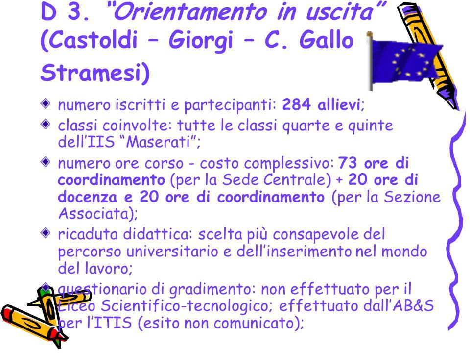 D 3. Orientamento in uscita (Castoldi – Giorgi – C. Gallo - Stramesi)