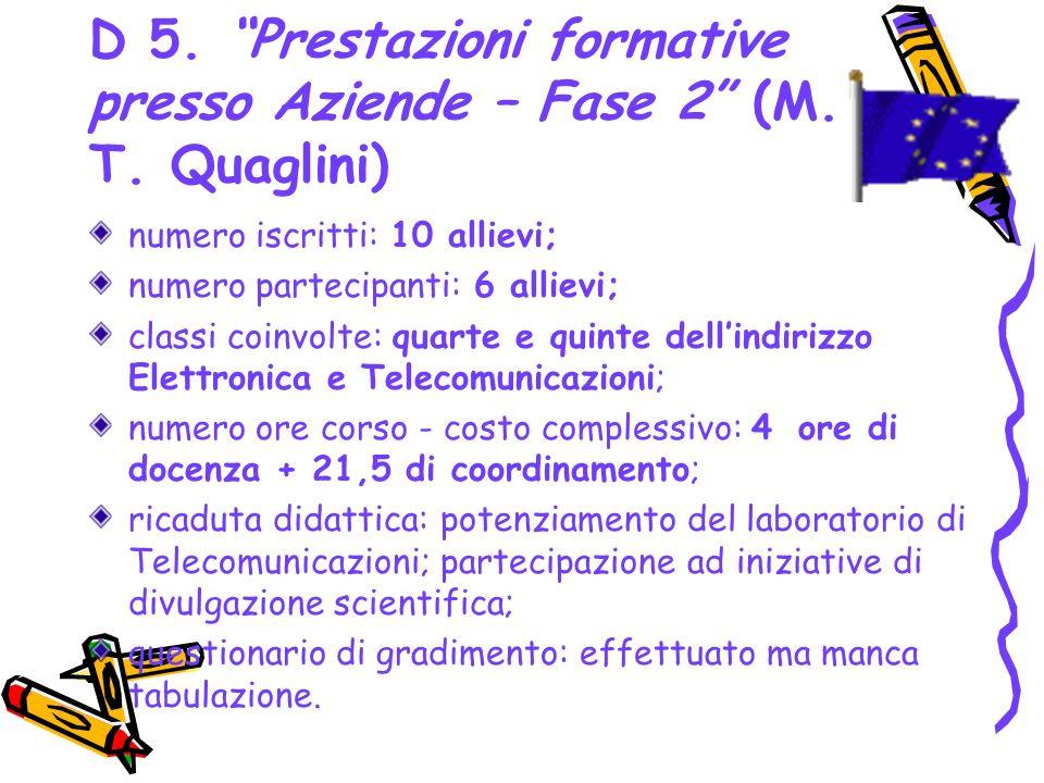 D 5. Prestazioni formative presso Aziende – Fase 2 (M. T. Quaglini)