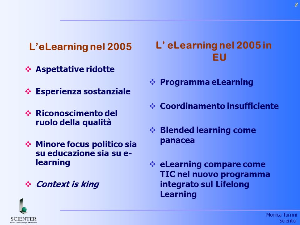 L' eLearning nel 2005 in EU L'eLearning nel 2005