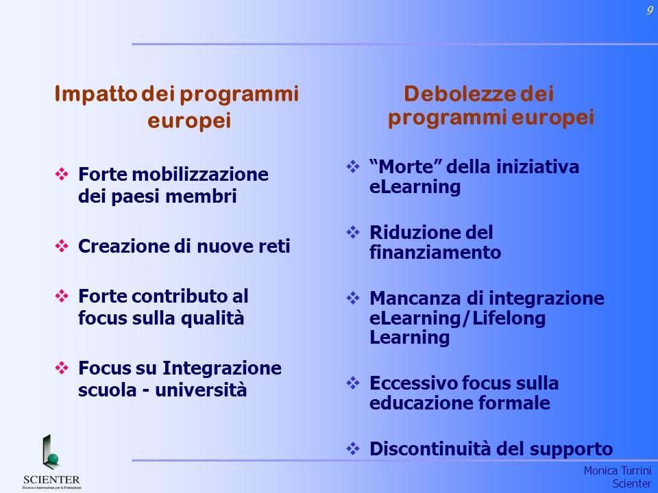 Impatto dei programmi europei Debolezze dei programmi europei