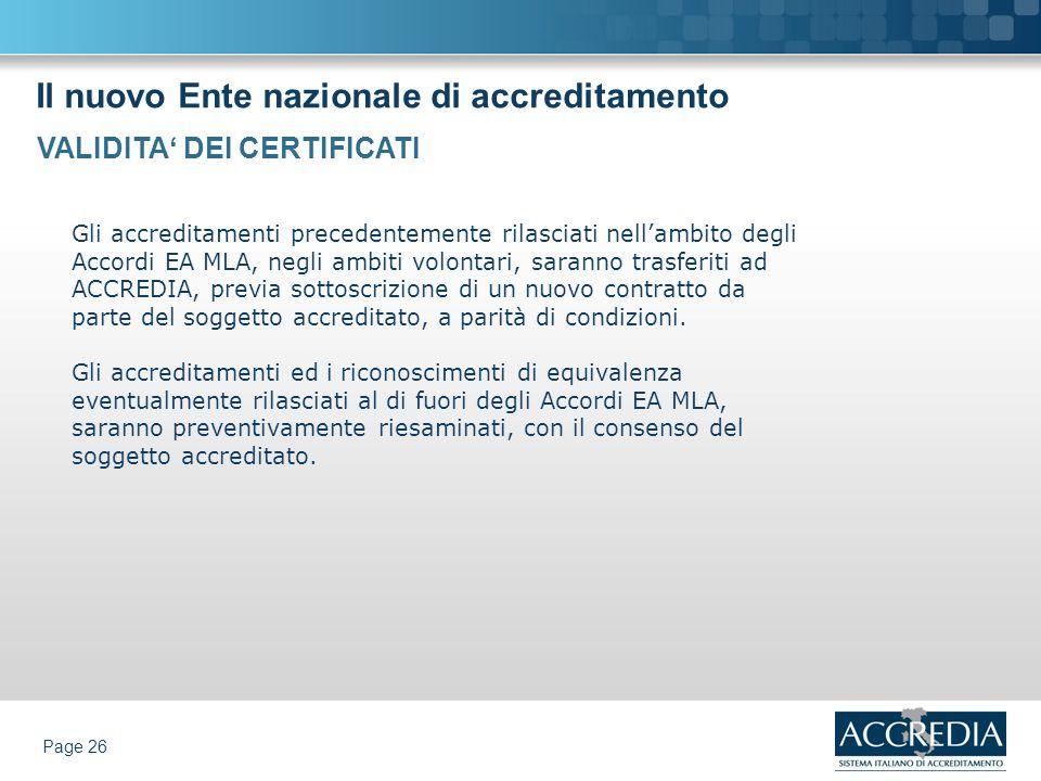 Il nuovo Ente nazionale di accreditamento