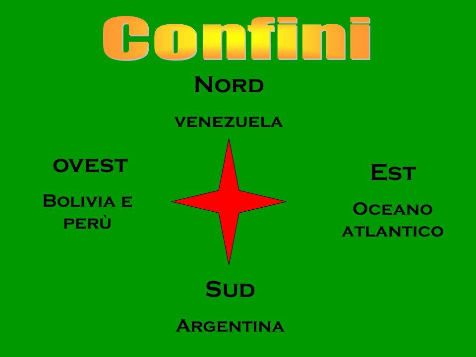 Confini Nord ovest Est Sud venezuela Bolivia e perù Oceano atlantico
