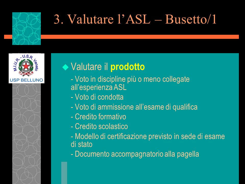 3. Valutare l'ASL – Busetto/1