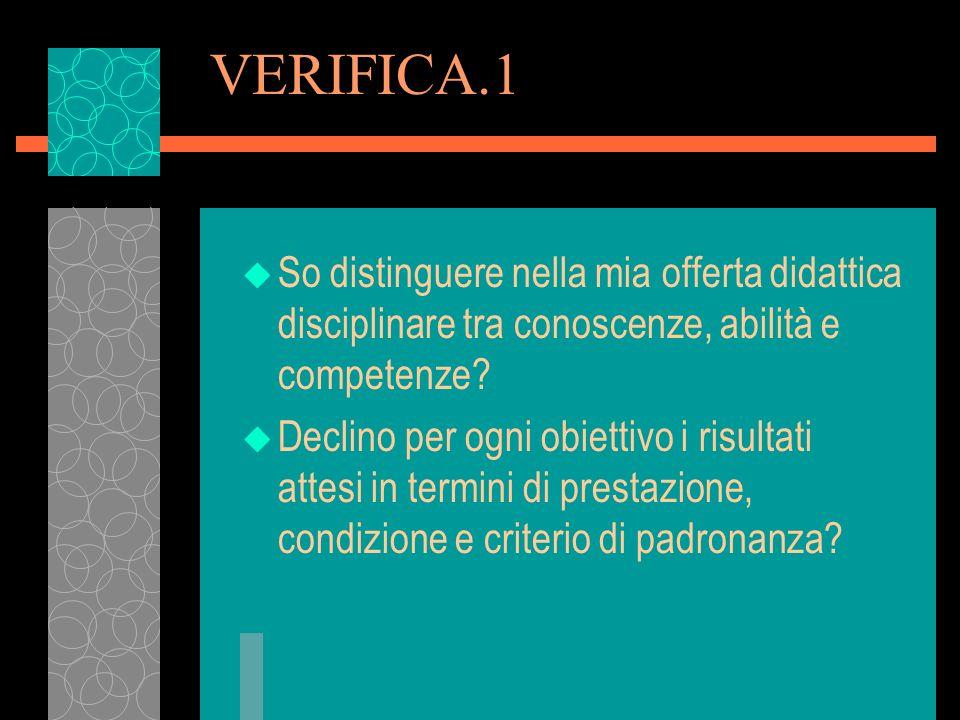 VERIFICA.1 So distinguere nella mia offerta didattica disciplinare tra conoscenze, abilità e competenze