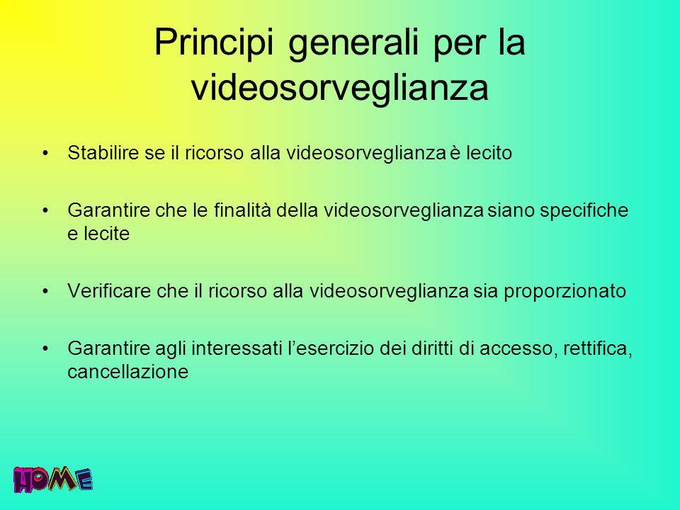 Principi generali per la videosorveglianza