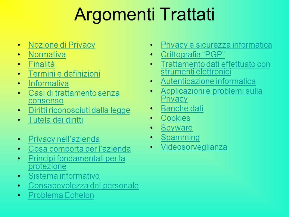 Argomenti Trattati Nozione di Privacy Normativa Finalità