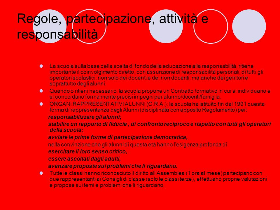Regole, partecipazione, attività e responsabilità