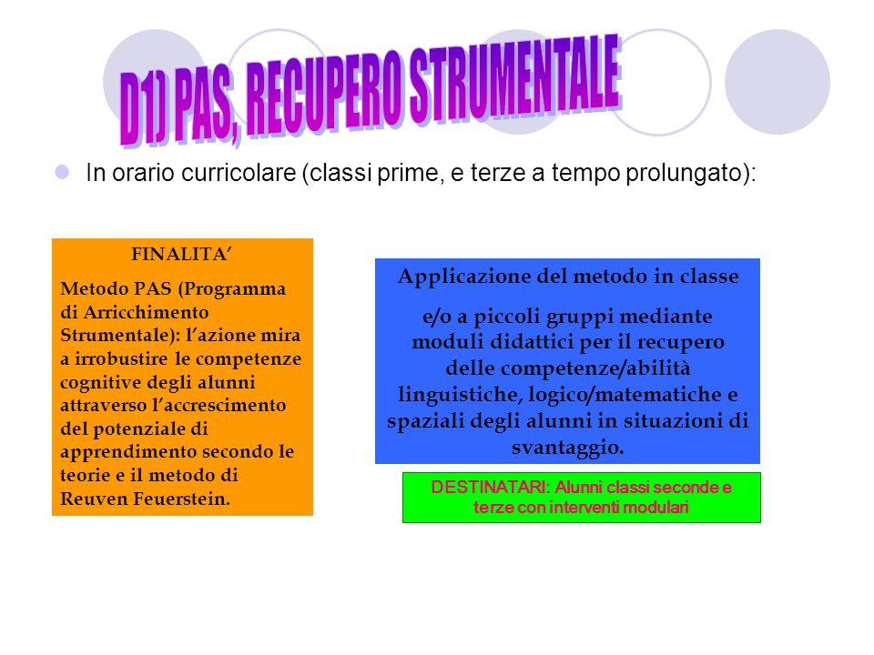 D1) PAS, RECUPERO STRUMENTALE