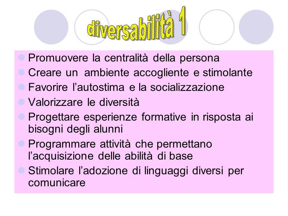 diversabilità 1 Promuovere la centralità della persona