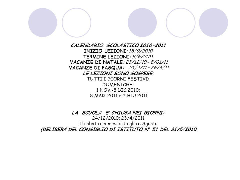 CALENDARIO SCOLASTICO 2010-2011 INIZIO LEZIONI: 15/9/2010