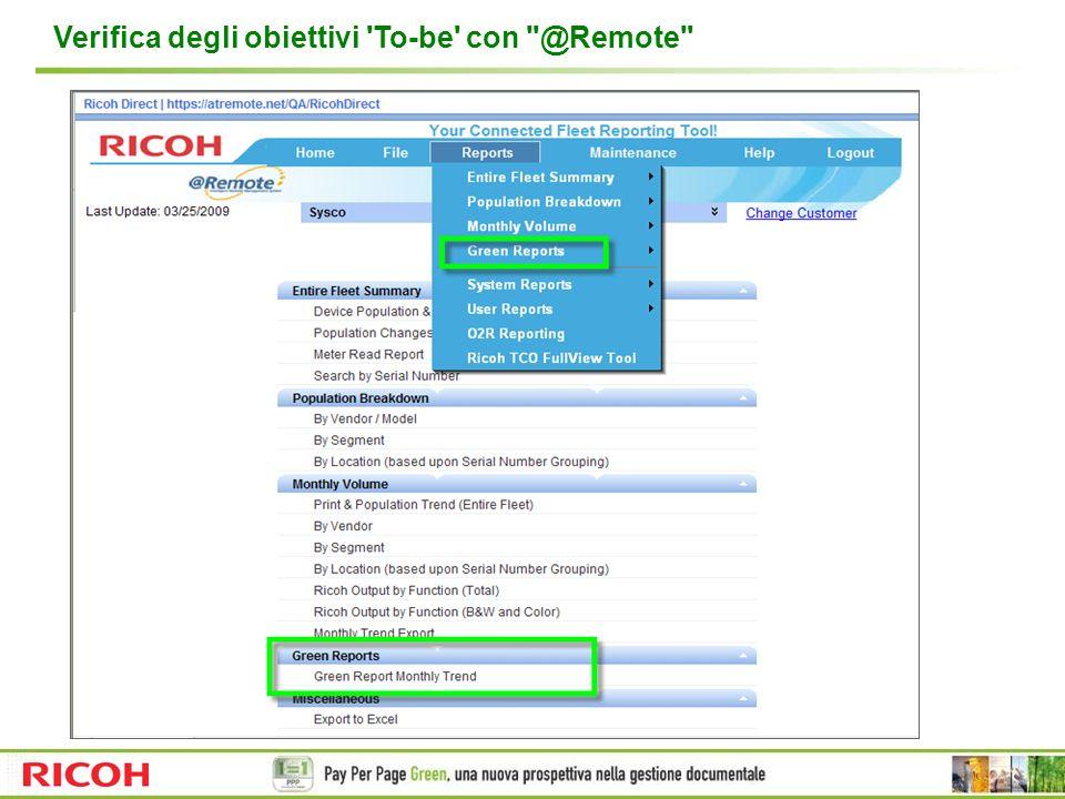 Verifica degli obiettivi To-be con @Remote