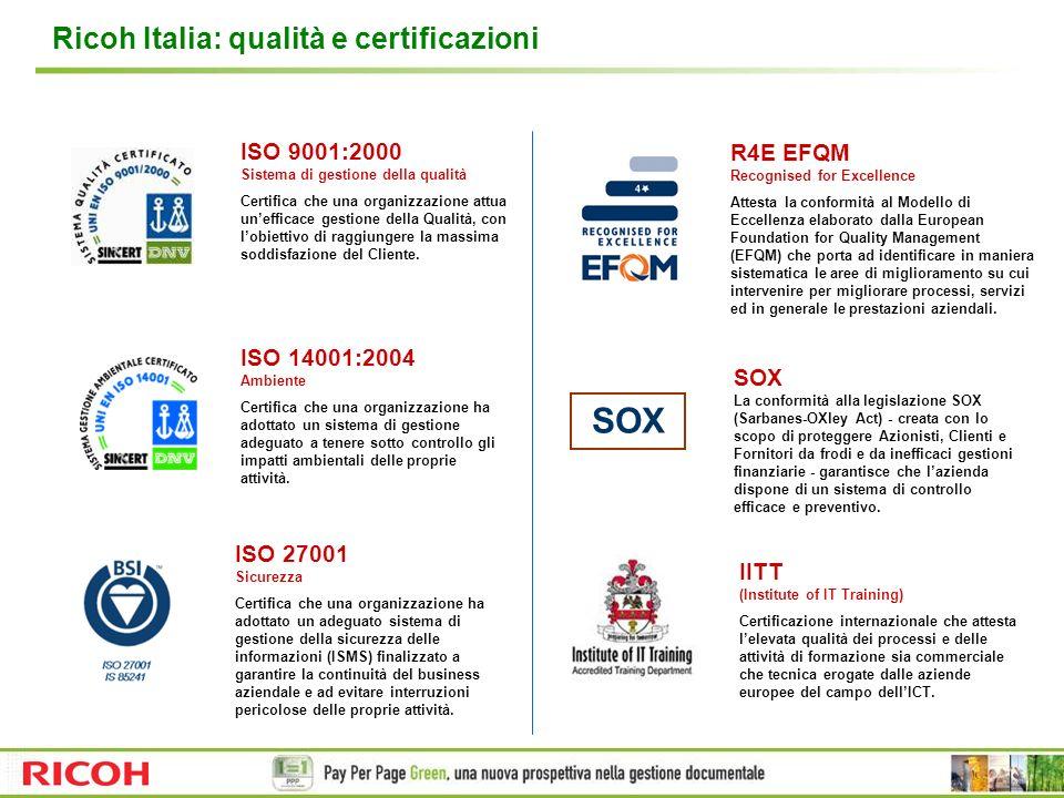 SOX Ricoh Italia: qualità e certificazioni ISO 9001:2000 R4E EFQM