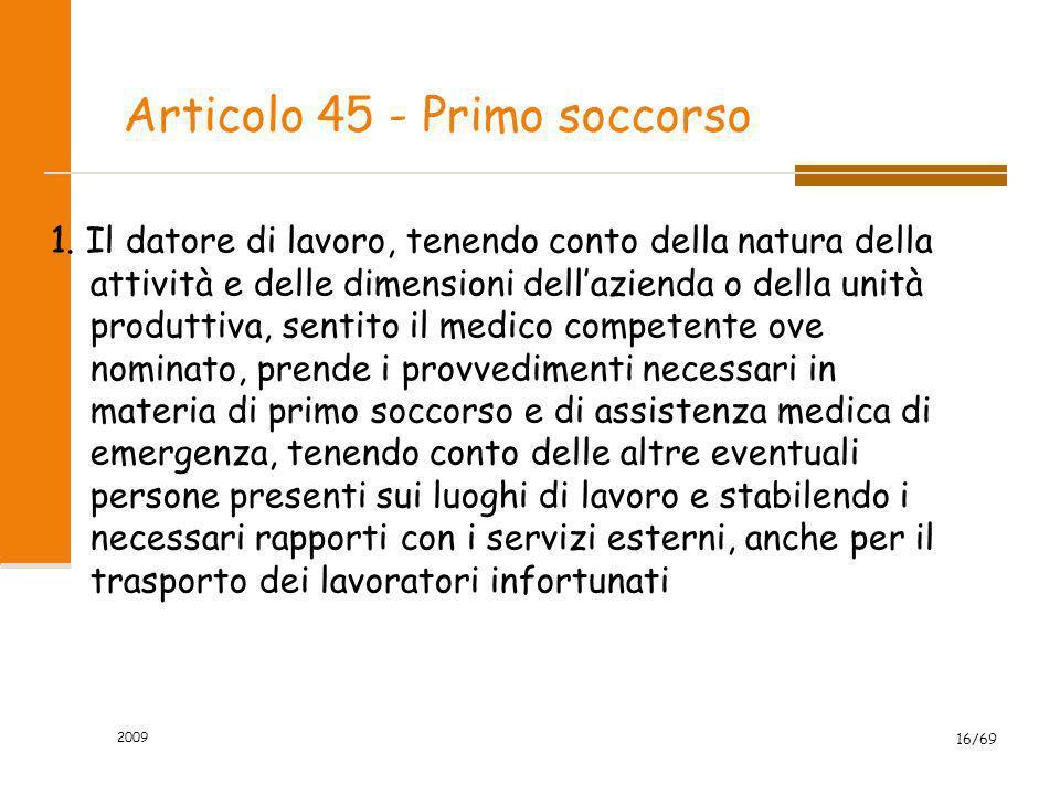 Articolo 45 - Primo soccorso