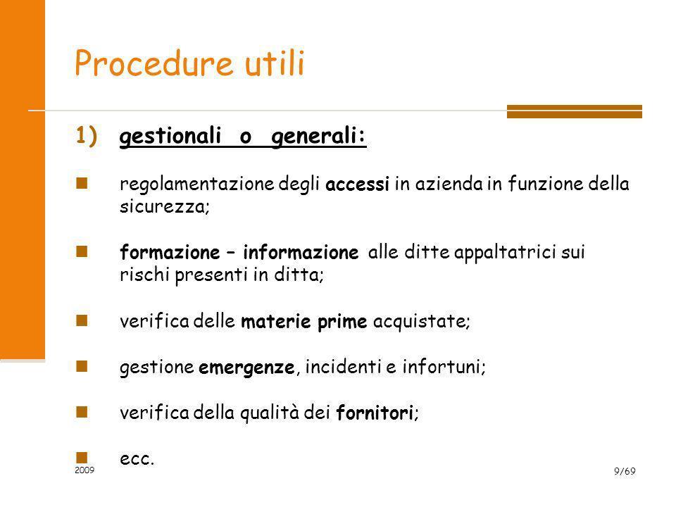 Procedure utili gestionali o generali: