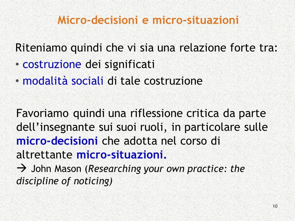Micro-decisioni e micro-situazioni