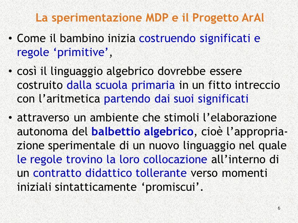 La sperimentazione MDP e il Progetto ArAl