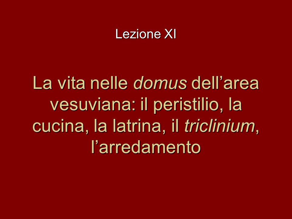 Lezione XI La vita nelle domus dell'area vesuviana: il peristilio, la cucina, la latrina, il triclinium, l'arredamento.