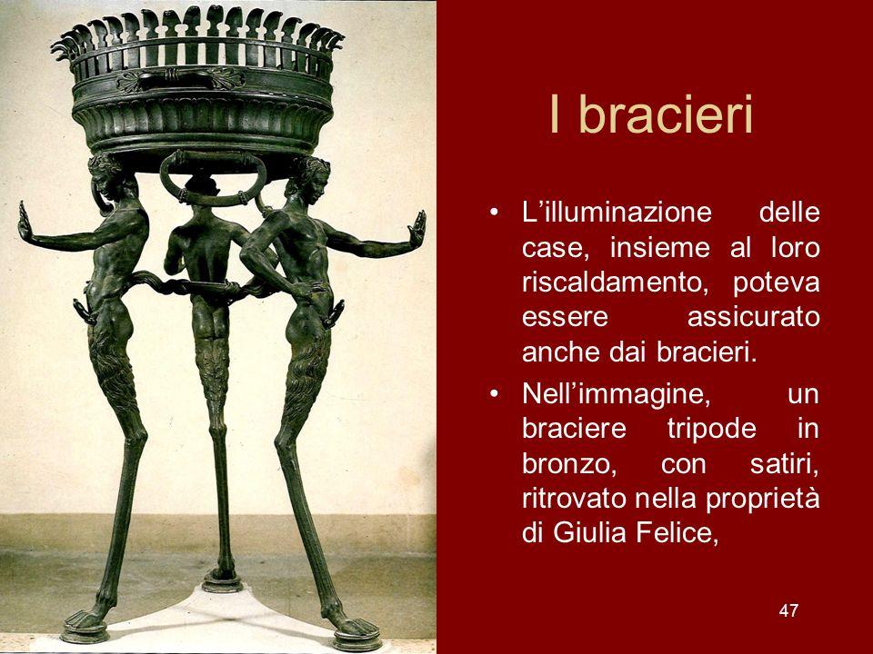 I bracieri L'illuminazione delle case, insieme al loro riscaldamento, poteva essere assicurato anche dai bracieri.
