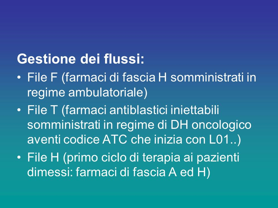 Gestione dei flussi: File F (farmaci di fascia H somministrati in regime ambulatoriale)