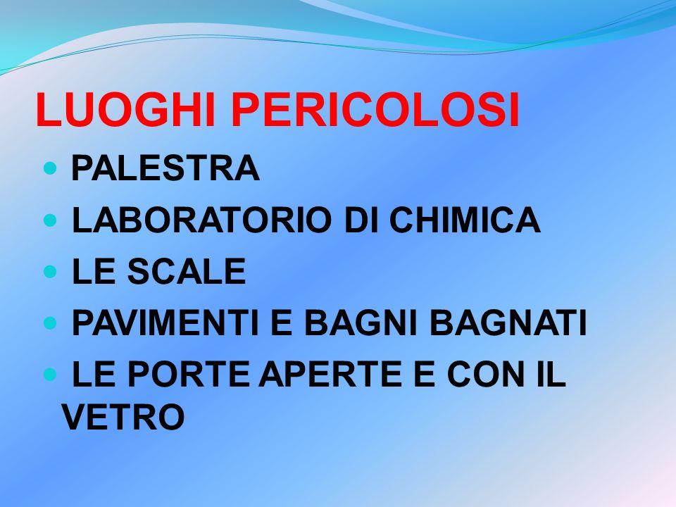 LUOGHI PERICOLOSI PALESTRA LABORATORIO DI CHIMICA LE SCALE