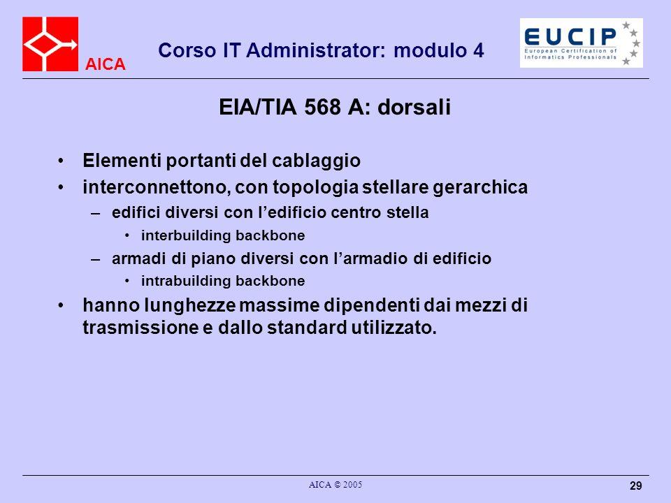 EIA/TIA 568 A: dorsali Elementi portanti del cablaggio