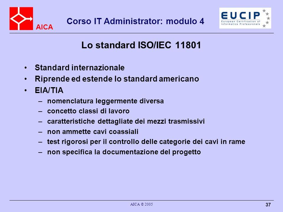Lo standard ISO/IEC 11801 Standard internazionale