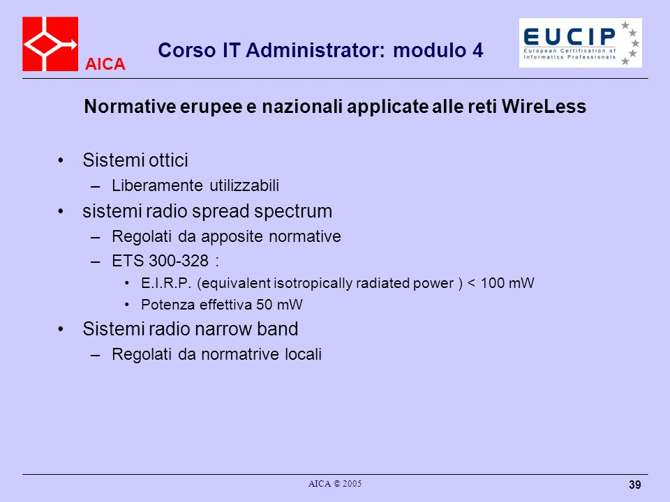 Normative erupee e nazionali applicate alle reti WireLess
