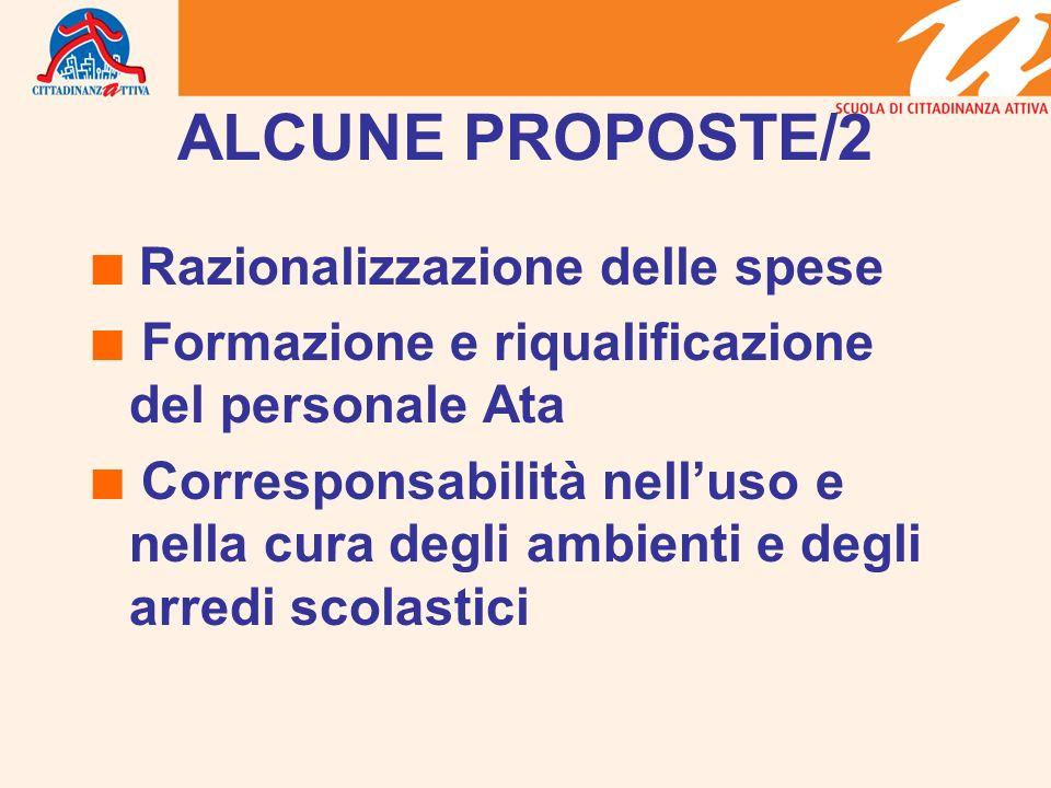 ALCUNE PROPOSTE/2  Razionalizzazione delle spese