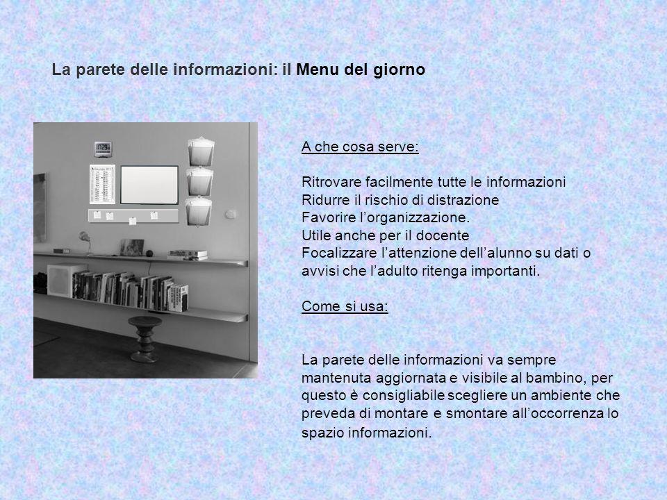 La parete delle informazioni: il Menu del giorno