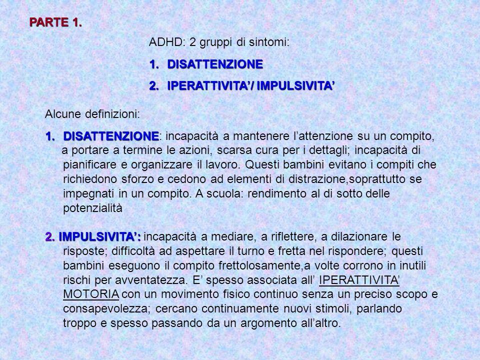 PARTE 1. ADHD: 2 gruppi di sintomi: DISATTENZIONE. IPERATTIVITA'/ IMPULSIVITA' Alcune definizioni: