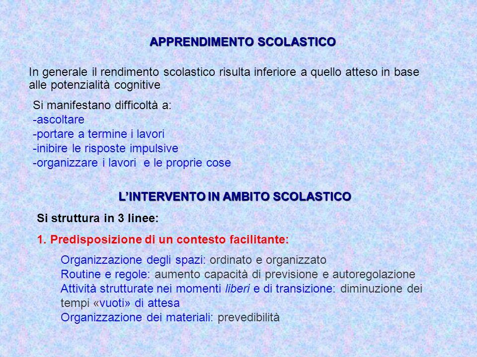 APPRENDIMENTO SCOLASTICO L'INTERVENTO IN AMBITO SCOLASTICO