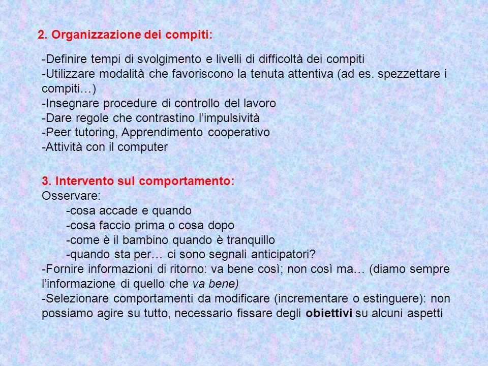 2. Organizzazione dei compiti: