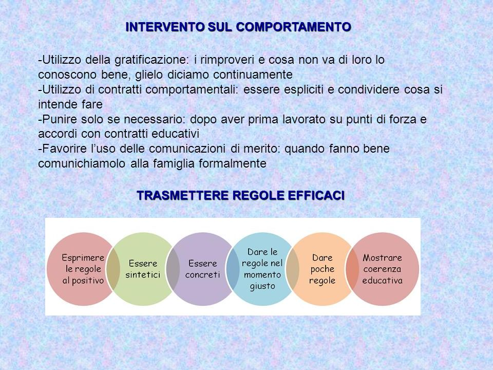 INTERVENTO SUL COMPORTAMENTO TRASMETTERE REGOLE EFFICACI