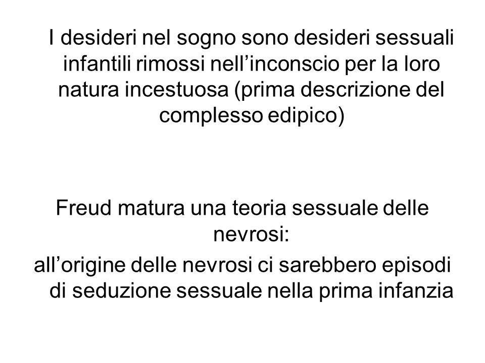Freud matura una teoria sessuale delle nevrosi: