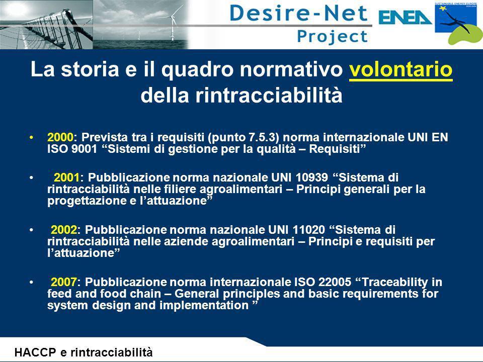 La storia e il quadro normativo volontario della rintracciabilità